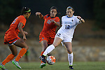 24 September 2015: North Carolina's Jessie Scarpa (12) is defended by Syracuse's Jessica Vigna (10) and Alana O'Neill (5). The University of North Carolina Tar Heels hosted the Syracuse University Orange at Fetzer Field in Chapel Hill, NC in a 2015 NCAA Division I Women's Soccer game. UNC won the game 3-1.