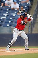 Fort Myers Miracle shortstop Luis Arraez (4) at bat during a game against the Tampa Tarpons on May 2, 2018 at George M. Steinbrenner Field in Tampa, Florida.  Fort Myers defeated Tampa 5-0.  (Mike Janes/Four Seam Images)