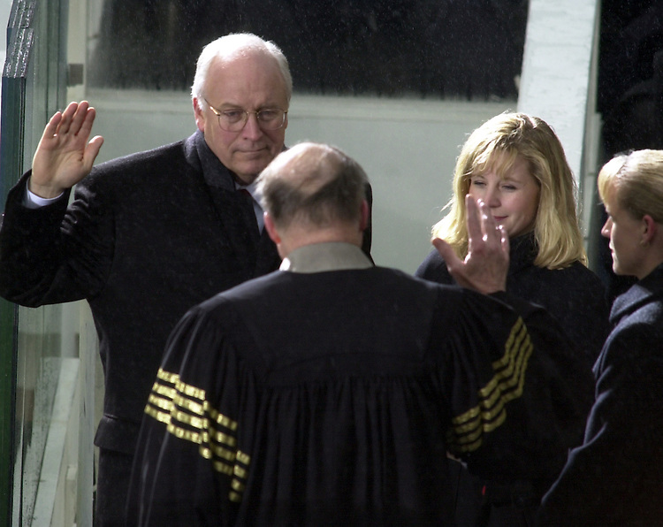 Dick Cheney is sworn in as the 43rd Vice President of the United States of America by US Supreme Court Chief Justice William H. Rehnquist.