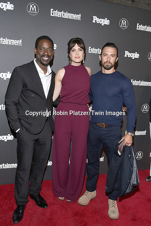 Sterling K Brown, Mandy Moore and Milo Ventimiglia of the show This Is Us attend the Entertainment Weekly &amp; PEOPLE Magazine New York Upfronts Celebration on May 16, 2016 at Cedar Lake in New York, New York, USA.<br /> <br /> photo by Robin Platzer/Twin Images<br />  <br /> phone number 212-935-0770