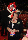 St. Paul, MN - September 2, 2008 -- Dawn Gilbert of Boothbay Harbor, Maine, shows off her hat and buttons on the floor of the 2008 Republican National Convention on Tuesday, September 2, 2008 in St. Paul, Minnesota. Ron Sachs / CNP