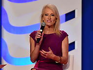 Washington, DC  - October 13, 2017: Kellyanne Conway, counselor to President Donald Trump, speaks during the Values Voter Summit hosted by the Family Research Council at the Omni Shoreham Hotel in Washington, D.C., October 13, 2017  (Photo by Don Baxter/Media Images International)