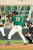 Greensboro Grasshoppers center fielder Jesus Solorzano (12) at bat against the Kannapolis Intimidators at CMC-Northeast Stadium on July 12, 2013 in Kannapolis, North Carolina.  The Grasshoppers defeated the Intimidators 2-1.   (Brian Westerholt/Four Seam Images)
