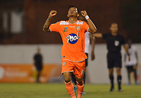 ENVIGADO- COLOMBIA, 31-08-2019.Yeison Guzmán  jugador del Envigado celebra después de anotar un gol  a Águilas Doradas durante partido por la fecha 9 de la Liga Águila II 2019 jugado en el estadio Polideportivo Sur de la ciudad de Medellín. /Yeison Guzman player of Envigado celebrates after scoring a goal agaisnt  of Aguilas Doradas during the match for the date 9 of the Liga Aguila II 2019 played at Polideportivo Sur stadium in Medellin  city. Photo: VizzorImage / Leon Monsalve/ Contribuidor