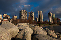 Tower blocks, west end towards Yaletown, Vancouver,British Colombia, Canada