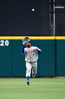 St. Lucie Mets center fielder John Mora (4) tracks a fly ball during the first game of a doubleheader against the Lakeland Flying Tigers on June 10, 2017 at Joker Marchant Stadium in Lakeland, Florida.  Lakeland defeated St. Lucie 6-5 in fourteen innings.  (Mike Janes/Four Seam Images)