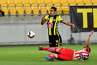 Wellington Phoenix&rsquo; Sarpreet Singh and Melbourne City&rsquo;s Harrison Delbridge in action during the A League - Wellington Phoenix v Melbourne City FC at Westpac Stadium, Wellington, New Zealand on Saturday 26 January 2019. <br /> Photo by Masanori Udagawa. <br /> www.photowellington.photoshelter.com