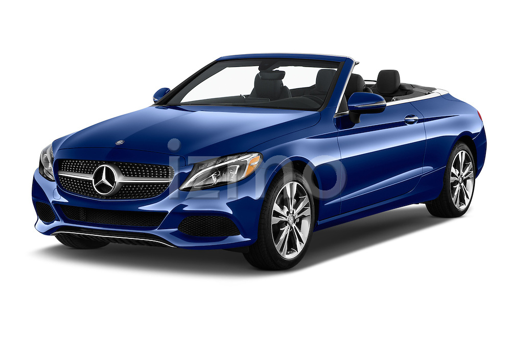 2017 Mercedes Benz C-Class C-300 2 Door Convertible Angular Front stock photos of front three quarter view