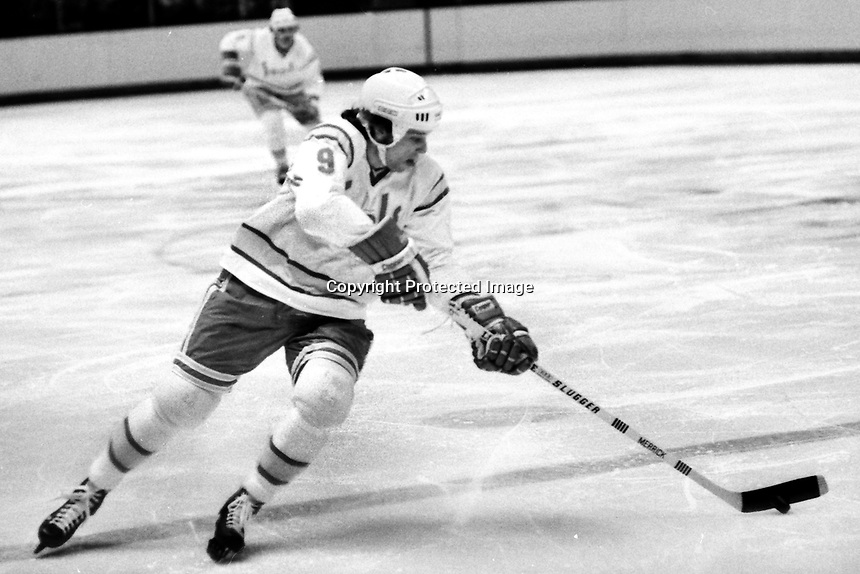 Seals Larry Patey against the LA Kings 1975.<br />