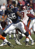 19 November 2005:Virginia tackle D'Brickashaw Ferguson (66)..The Virginia Tech Hokies defeated the Virginia Cavaliers 52-14 for the Commonwealth Cup at Scott Stadium in Charlottesville, VA.
