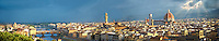 Panoramic view of Florence and the Ponte Vecchio, the Palazzio Vecchio and The Duomo, Italy
