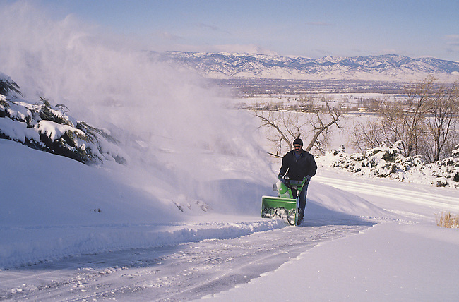 Man with Snowblower, Boulder, Colorado
