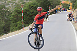 Wheelie time as fans ride up the final Cat 1 climb up to Observatorio Astrofisico de Javalambre during Stage 5 of La Vuelta 2019 running 170.7km from L'Eliana to Observatorio Astrofisico de Javalambre, Spain. 28th August 2019.<br /> Picture: Eoin Clarke | Cyclefile<br /> <br /> All photos usage must carry mandatory copyright credit (© Cyclefile | Eoin Clarke)