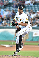 Ryan Chaffee (29) of the Salt Lake Bees delivers a pitch to the plate against the Round Rock Express in Pacific Coast League action at Smith's Ballpark on August 21, 2014 in Salt Lake City, Utah.  (Stephen Smith/Four Seam Images)