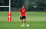Real Madrid signing Gareth Bale training with the Wales Football squad at the Vale Rwesort near Cardiff today as Manager Chris Coleman confirmed that he will travel to Macedonia for Friday's World Cup qualifier.