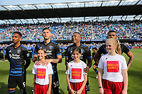 San Jose, CA - Saturday March 31, 2018: Danny Hoesen, Yeferson Quintana, Harold Cummings during a Major League Soccer (MLS) match between the San Jose Earthquakes and New York City FC at Avaya Stadium.