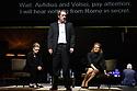 Toneelgroep Amsterdam presents<br /> &quot;Roman Tragedies&quot;, a seamless interpretation of William Shakespeare's &quot;Coriolanus&quot;, Julius Caesar&quot; and &quot;Anthony and Cleopatra&quot;, in the Barbican Theatre. The Barbican first introduced Toneelgroep Amsterdam to UK audiences in 2009 with this same production. Picture shows: Coriolanus - Frieda Pittoors (Volumnia), Gijs Scholten van Aschst (Coriolanus), Janni Goslinga (Virgilia)