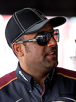 Aug. 31, 2013; Clermont, IN, USA: NHRA top fuel dragster driver Khalid Albalooshi during qualifying for the US Nationals at Lucas Oil Raceway. Mandatory Credit: Mark J. Rebilas-