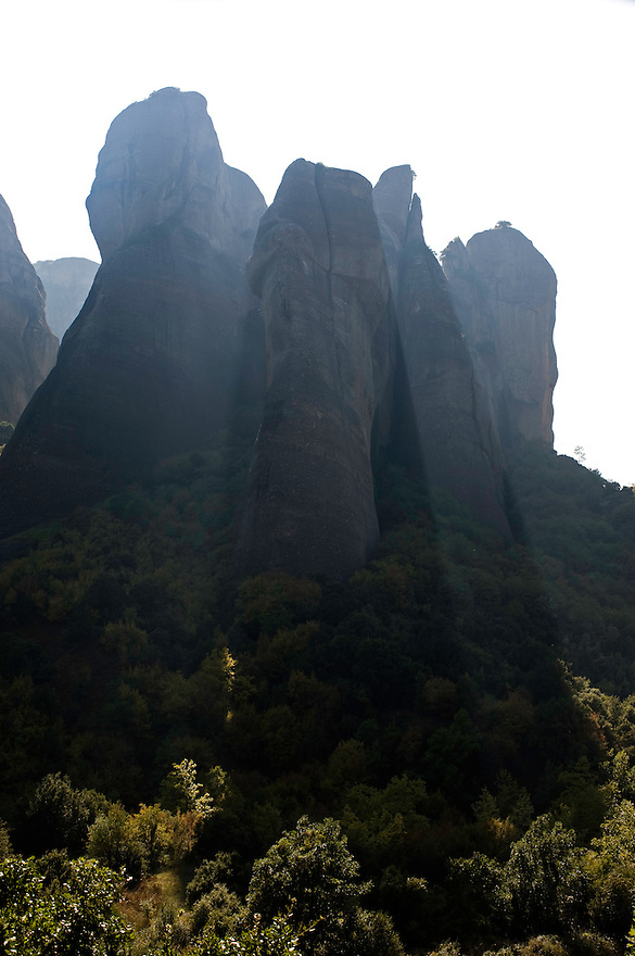 Greece, Meteora, cliffs in backlight