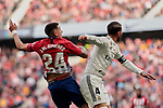 Atletico de Madrid's Jose Maria Gimenez and Real Madrid's Sergio Ramos during La Liga match between Atletico de Madrid and Real Madrid at Wanda Metropolitano Stadium in Madrid, Spain. February 09, 2019. (ALTERPHOTOS/A. Perez Meca)