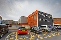 """The """"More Poetry Is Needed"""" graffiti, produced by Jeremy Deller for the Dylan Thomas Centenary, in the city centre of Swansea, Wales, UK. Saturday 04 January 2019"""
