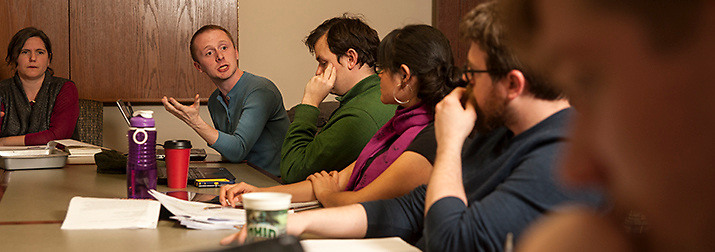 Nicholas Brumfield speaks to his fellow students during Dr. Myra Waterbury's Political Science Seminar in Comparative Politics on Wednesday, February 4.