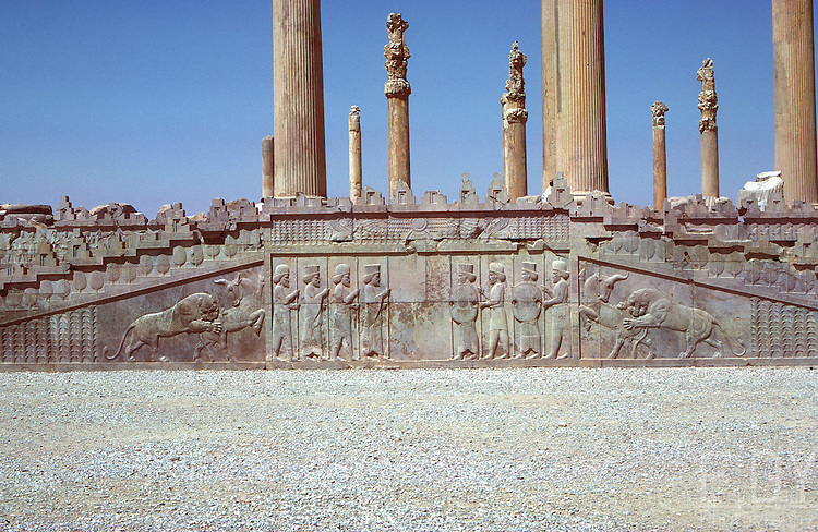 Persepolis Stairs and bas-relief.<br /> Picture taken circa 1976.