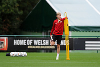 David Brooks of Wales stretches during the Wales Training Session at The Vale Resort in Cardiff, Wales, UK. Monday 8 October 2018