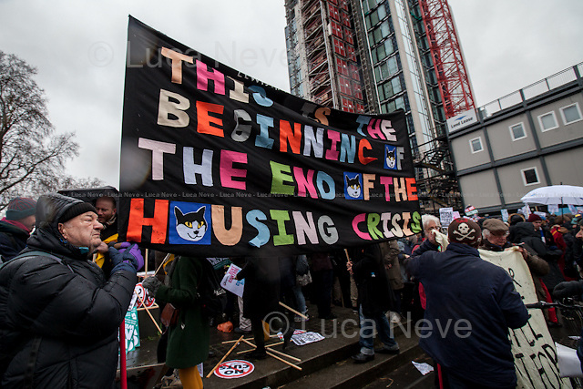 London, 31/01/2015. Today, thousands of housing activists, trade unionists, campaigners and members of the public marched on City Hall (coming from Shoreditch and Elephant &amp; Castle) demanding to the London Mayor Boris Johnson better and affordable housing for London. From the organisers press release: &lt;&lt;[&hellip;] We demand to solve the Housing Crisis: - Rent Controls; -Hands off council housing; - Stop demolition of quality council homes; - Affordable and secure homes for all; - Cut rents not Benefits; - End Bedroom Tax and welfare caps; - Build new council houses [&hellip;]&gt;&gt;.<br />