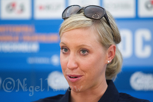 23 AUG 2013 - STOCKHOLM, SWE - Lisa Norden (SWE) of Sweden answers questions at the ITU World Triathlon Series race media conference in Stockholm, Sweden (PHOTO COPYRIGHT © 2013 NIGEL FARROW, ALL RIGHTS RESERVED)