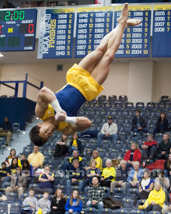 The University of Michigan men's gymnastics team (440.750) beat No. 15 UIC (404.000) and SUNY-Brockport (306.550) on Senior Night at Cliff Keen Arena in Ann Arbor, Mich., on March. 23, 2013.