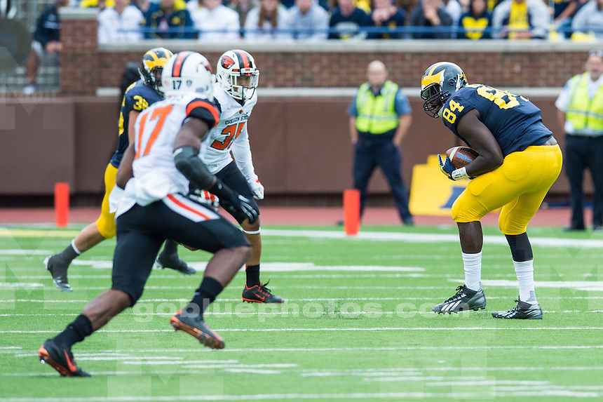 The University of Michigan football team defeats Oregon State, 35-7, at Michigan Stadium in Ann Arbor, Mich. on September 12, 2015.