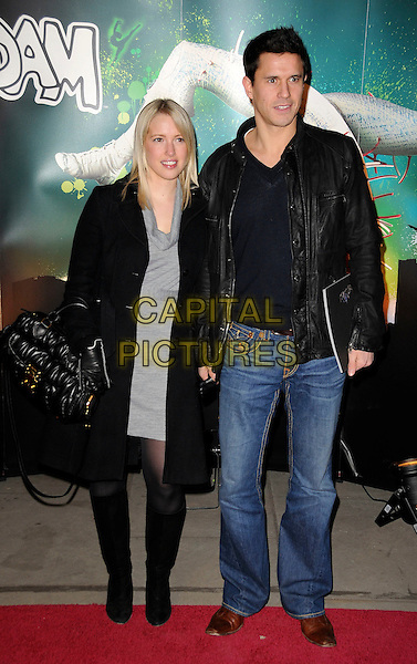 "LYDIA & JEREMY EDWARDS.VIP Gala Premiere of Cirque de Soleil -  ""Quidam"" at the Royal Albert Hall, London, England. .January 6th 2009.full length black coat leather jacket jeans  denim couple .CAP/CAS.©Bob Cass/Capital Pictures."