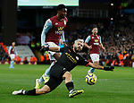 Sergio Aguero of Manchester City slips after getting in front of Kortney Hause of Aston Villa during the Premier League match at Villa Park, Birmingham. Picture date: 12th January 2020. Picture credit should read: Darren Staples/Sportimage