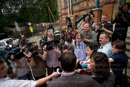 Opposition leader Viktor Orban speaks to the press after voting during the European Parliamentary elections in Budapest, Hungary. Sunday, 07. June 2009. ATTILA VOLGYI