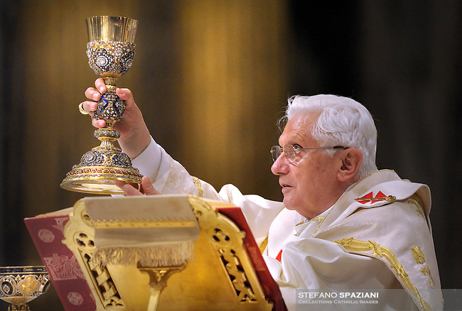 Pope Benedict XVI wafts incense as he leads the Corpus Domini mass in Rome's Basilica of St. John's in Lateran on June 3, 2010. .