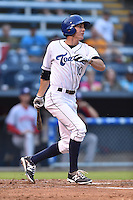 Asheville Tourists right fielder Jordan Patterson #10 swings at a pitch during a game against the Hagerstown Sun at McCormick Field on September 8, 2014 in Asheville, North Carolina. The Tourists defeated the Suns 16-7. (Tony Farlow/Four Seam Images)