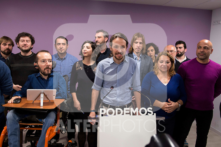 Members of PODEMOS during PODEMOS press conference after meeting with autonomy general and organizational secretaries sat Real Palace in Madrid March 17,2016. (ALTERPHOTOS/Borja B.Hojas)