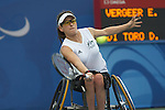 Australia's Daniella Di Toro 'lucks out' in the first round of the Women's Open Singles tennis competition coming up against tournament and gold medal favourite, Netherland's Ester Vergeer. Vergeer took the match 6-2, 6-0 and went on to win the gold medal.