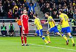 Solna 2014-10-12 Fotboll EM-kval , Sverige - Liechtenstein :  <br /> Sveriges Jimmy Durmaz jublar efter sitt 2-0 m&aring;l<br /> (Photo: Kenta J&ouml;nsson) Keywords:  Sweden Sverige Friends Arena EM Kval EM-kval UEFA Euro European 2016 Qualifying Group Grupp G Liechtenstein jubel gl&auml;dje lycka glad happy depp besviken besvikelse sorg ledsen deppig nedst&auml;md uppgiven sad disappointment disappointed dejected