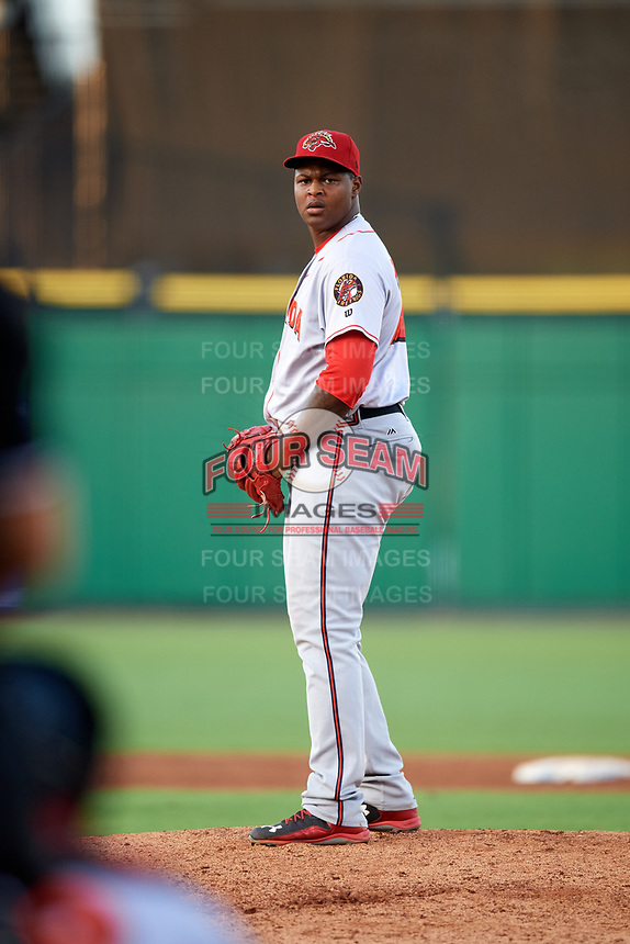 Florida Fire Frogs relief pitcher Mauricio Cabrera (22) gets ready to deliver a pitch during a game against the Clearwater Threshers on June 1, 2018 at Spectrum Field in Clearwater, Florida.  Florida defeated Clearwater 12-10.  (Mike Janes/Four Seam Images)