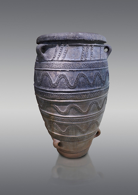 Large Pithos storage jar decorated with wavy lbands and linaear A inscription, Knossos Palace, Crete.  National Archaeological Museum Athens. 17th-16th cent BC.<br /> <br /> From the 1887 excavations of Kalokairinos, Knossos.