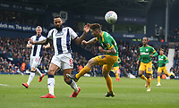 West Bromwich Albion's Kyle Bartley blocks this cross by Preston North End's Sean Maguire<br /> <br /> Photographer Stephen White/CameraSport<br /> <br /> The EFL Sky Bet Championship - West Bromwich Albion v Preston North End - Saturday 13th April 2019 - The Hawthorns - West Bromwich<br /> <br /> World Copyright © 2019 CameraSport. All rights reserved. 43 Linden Ave. Countesthorpe. Leicester. England. LE8 5PG - Tel: +44 (0) 116 277 4147 - admin@camerasport.com - www.camerasport.com