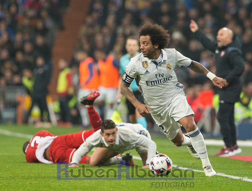 Real Madrid´s Brazilian defense Marcelo during the Copa del Rey soccer match between Real Madrid and Sevilla played at the Santiago Bernabéu stadium in Madrid, on January 4th 2017.