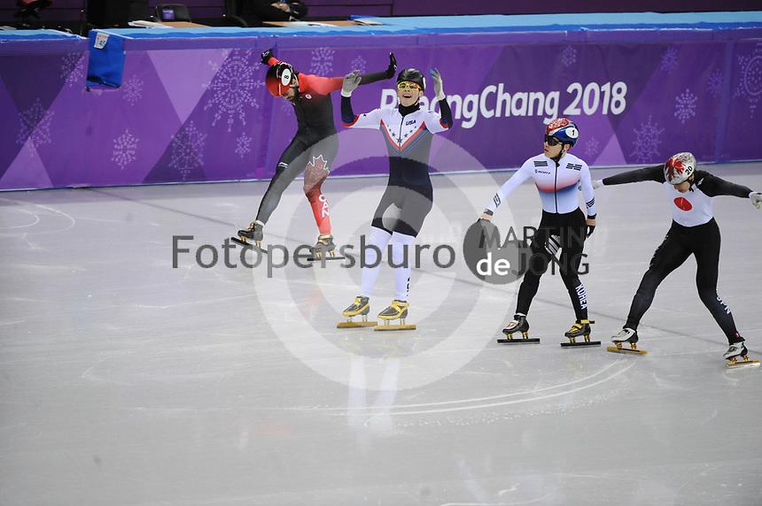 OLYMPIC GAMES: PYEONGCHANG: 17-02-2018, Gangneung Ice Arena, Short Track, Semifinals 1000m Men, John-Henry Krueger (USA), Seo Yi Ra (KOR), ©photo Martin de Jong