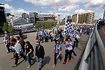 Tranmere Rovers 1 Forest Green Rovers 3, 14/05/2017. Wembley Stadium, Conference play off Final. Fans making their way to Wembley Stadium before the Vanarama Conference play off Final  between Tranmere Rovers v Forest Green Rovers at Wembley. Photo by Paul Thompson.