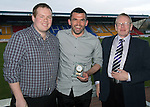 St Johnstone Player of the Year Awards...04.05.13.Callum Davidson presented with the Auchterarder Supporters Club Clubman of the Year by Kev Mallis and Neil Morris..Picture by Graeme Hart..Copyright Perthshire Picture Agency.Tel: 01738 623350  Mobile: 07990 594431
