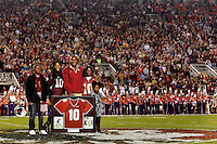 TALLAHASSEE, FL 11/13/10-FSU-CLEMSON FB10 CH-Former Florida State football star Derrick Brooks was honored for his play with the Seminoles during a jersey retirement ceremony at half time of the Clemson game Saturday at Doak Campbell Stadium in Tallahassee. .COLIN HACKLEY PHOTO