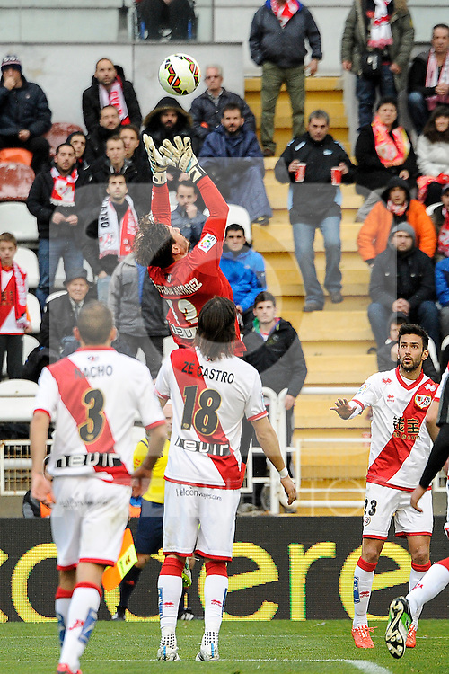 Rayo Vallecano´s goalkeeper Cristian Dario Alvarez, Ze Castro and Alberto Bueno during 2014-15 La Liga match between Rayo Vallecano and Malaga CF at Rayo Vallecano stadium in Madrid, Spain. March 21, 2015. (ALTERPHOTOS/Luis Fernandez)