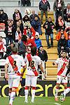 Rayo Vallecano´s goalkeeper Cristian Dario Alvarez, Ze Castro and Alberto Bueno during 2014-15 La Liga match between Rayo Vallecano and Malaga CF at Rayo Vallecano stadium in Madrid, Spain. March 21, 2015. (ALTERPHOTOS/Luis Fernandez)